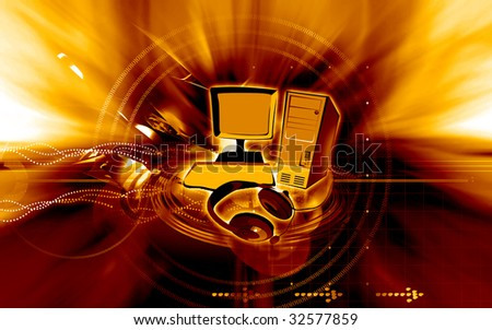 Illustration of a computer monitor, cental processing unit and headphone - stock photo