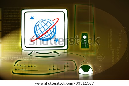 Illustration of a computer system	 - stock photo