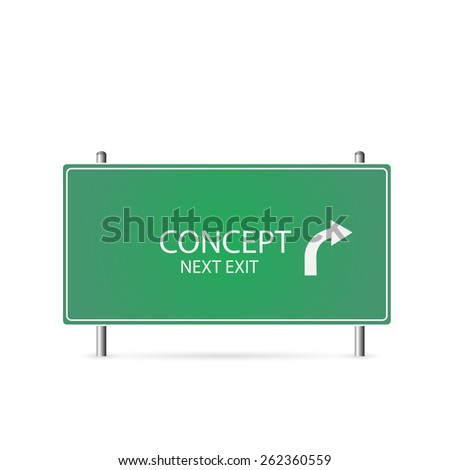 Illustration of a Concept highway sign isolated on a white background. - stock photo