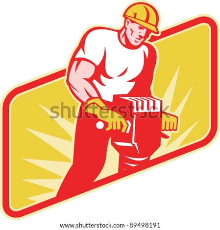 Illustration of a construction worker at work operating a jackhammer facing front with sunburst in the background on isolated white background.
