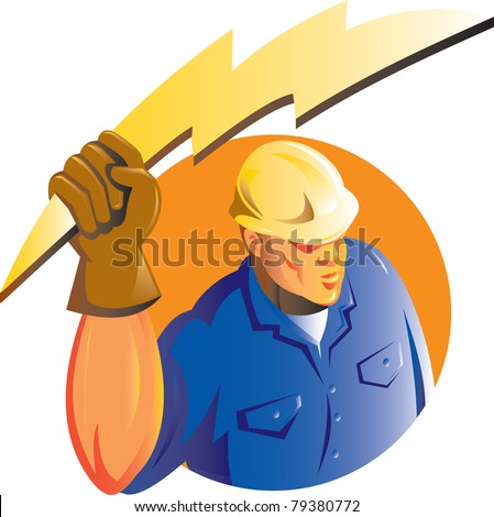 illustration of a Construction worker electrician holding a lightning electricity bolt viewed from a high angle set inside circle isolated on white done in retro style - stock photo