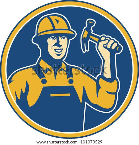 Illustration of a construction worker tradesman laborer wielding a hammer set inside circle done in retro style. - stock photo