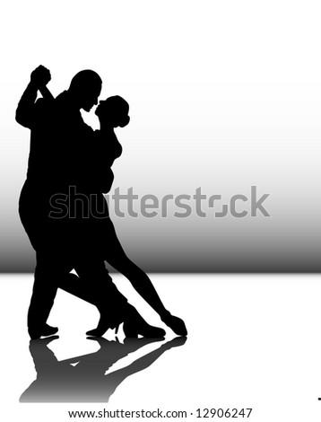 illustration of a couple dancing tango - stock photo