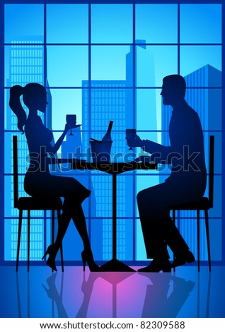 Illustration of a couple having a date - stock photo