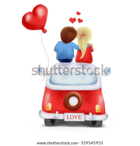 Illustration of a couple in love sitting on the roof of the car, isolated over white background - stock photo