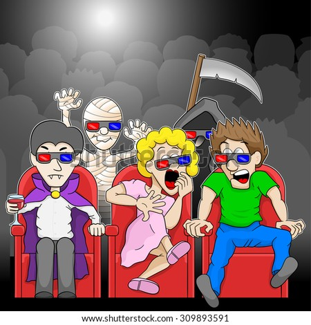 illustration of a couple is watching a 3D horror movie in a cinema