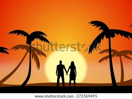 Illustration of a couple on holiday - stock photo