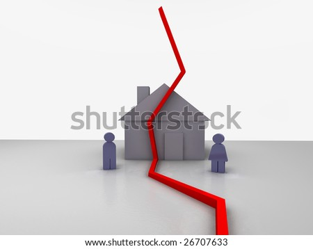 Illustration of a couple standing in front of a house. They are separated by a red line indicating they divorced. - stock photo