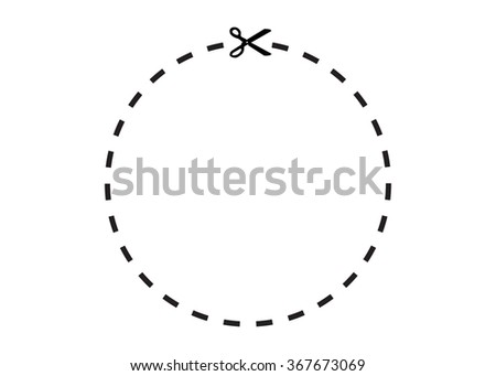 Illustration of a coupon with borders and scissor illustration isolated on white background. See portfolio for more. Clipping path included. - stock photo