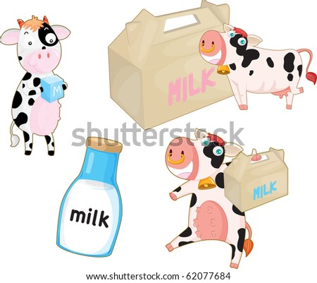 illustration of a cow and milk on a white background