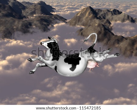 Illustration of a cow flying over clouds and mountains - stock photo