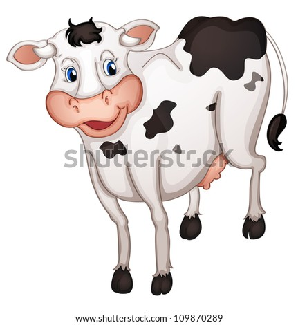 illustration of a cow in a white background