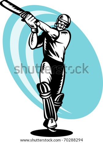 illustration of a cricket batsman batting front view done in retro woodcut style
