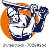 illustration of a cricket batsman batting front view woodcut retro style - stock photo