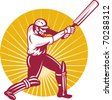 illustration of a cricket batsman batting side view done in retro woodcut style - stock photo