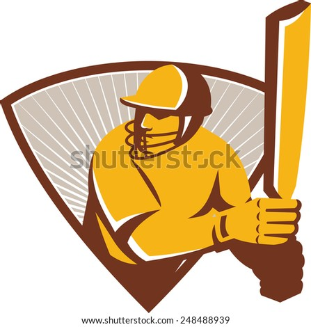Illustration of a cricket batsman with bat batting set inside shield crest with sunburst in the background done in retro style. - stock photo