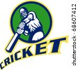 illustration of a cricket sports batsman  batting isolated on white - stock photo