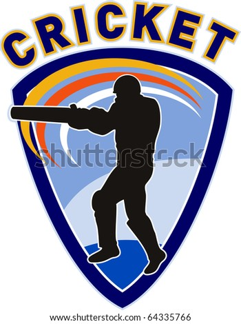 "illustration of a cricket sports player batsman silhouette batting set inside shield with words ""cricket"" - stock photo"