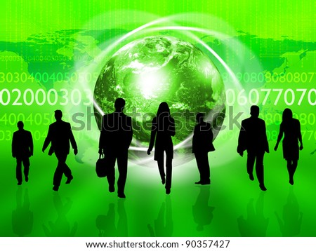 Illustration of a crowd of business people against color background - stock photo