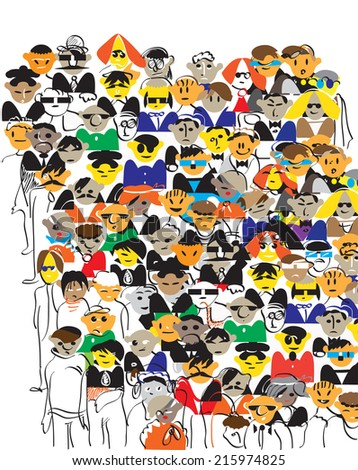 Illustration of a crowd of people in doodle style on white  - stock photo
