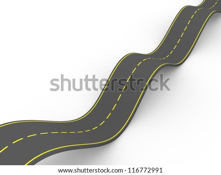 Illustration of a curvy road making waves. 3d render - stock photo