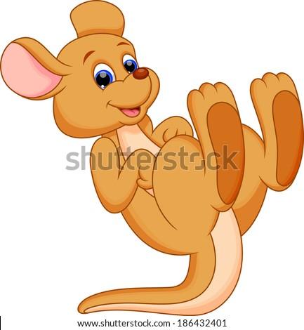 Illustration of a cute and adorable kangaroo cartoon - stock photo