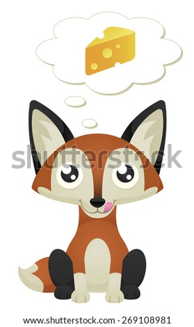 Illustration of a cute cartoon fox sitting with a hungry expression. Raster. - stock photo