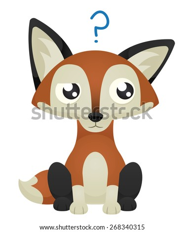 Illustration of a cute cartoon fox with a confused facial expression. Raster. - stock photo
