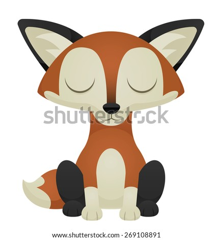 Illustration of a cute cartoon fox with its eyes closed. Raster. - stock photo
