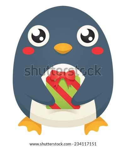 Illustration of a cute cartoon penguin holding a wrapped christmas gift. Raster. - stock photo