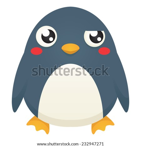 Illustration of a cute cartoon penguin with a puzzled expression. Raster. - stock photo