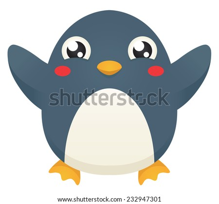 Illustration of a cute cartoon penguin with its flippers raised up in celebration. Raster. - stock photo