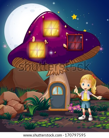 Illustration of a cute girl standing beside the magical mushroom house