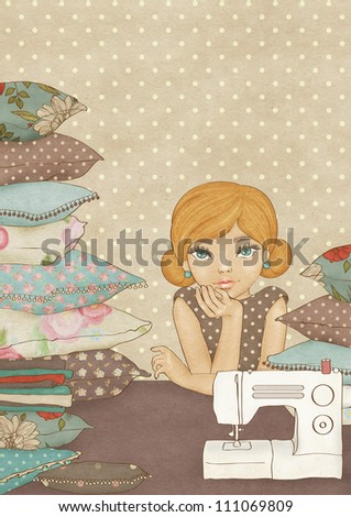 Illustration of a cute krafty girl. Vintage postcard template - stock photo