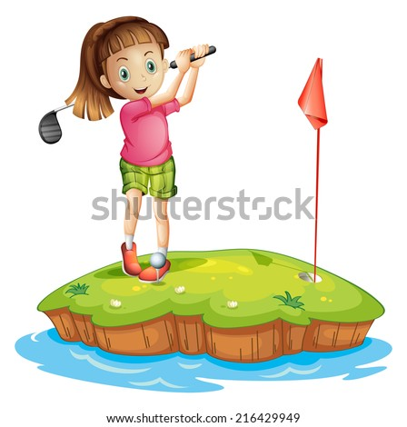 Illustration of a cute little girl golfing on a white background - stock photo