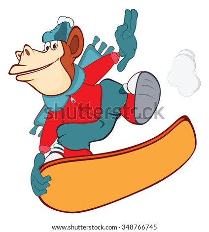 Illustration of a Cute Monkey Snowboarding. Cartoon Character