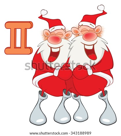 Illustration of a Cute Santa Claus. Astrological Sign in the Zodiac Gemini. Cartoon Character