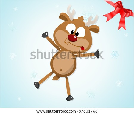 Illustration of a cute silly reindeer - stock photo