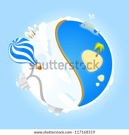 illustration of a cute small planet with ocean, winter landscape, city, mountains and air balloon - stock photo