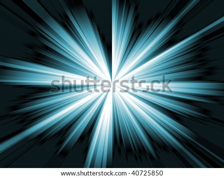 Illustration of a cyan shiny burst of light in a black background. - stock photo