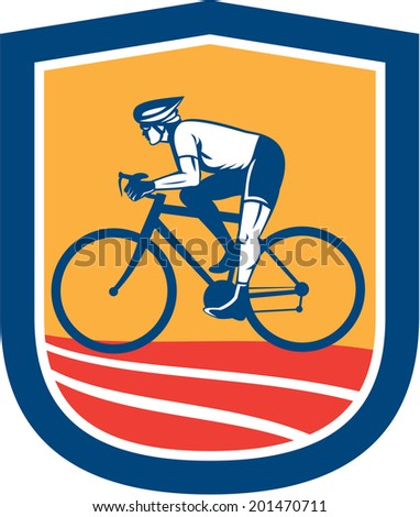 Illustration of a cyclist riding racing bicycle cycling side view set inside shield crest done in retro style.