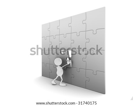 Illustration of a 3d cartoon character completing a puzzle. - stock photo