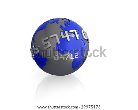 Illustration of a 3d globe, with credit card style text wrapping around, isolated on white with reflection.