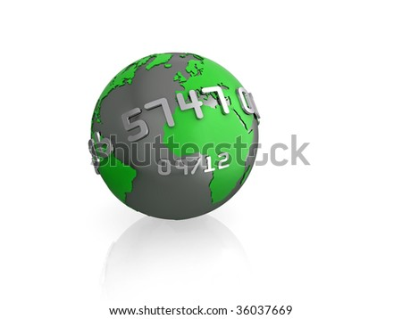Illustration of a 3d globe, with credit card style text wrapping around, isolated on white with reflection. - stock photo