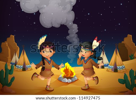 illustration of a dancing girls and stars in night sky - stock photo