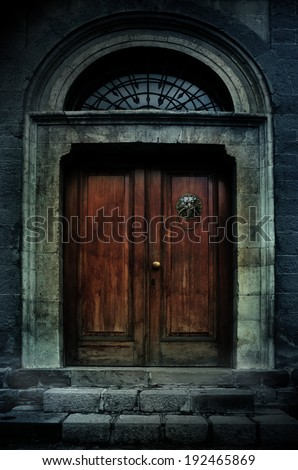 illustration of a dark haunted old mansion - stock photo