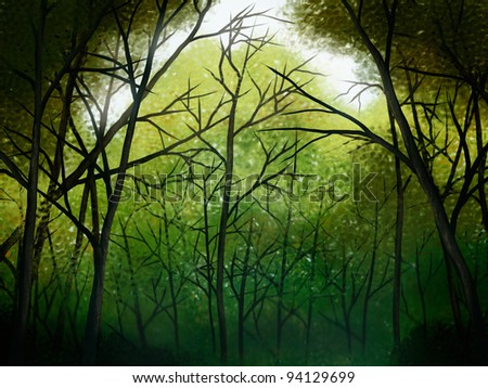 illustration of a deep green forest - stock photo