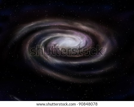 Illustration of a deep space spiral galaxy - stock photo