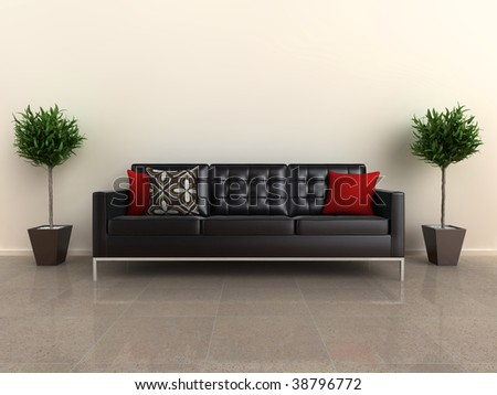 Illustration of a designer sofa, with plants either side, on a shiny stone floor. - stock photo