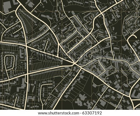 Illustration of a detailed generic street map without names - stock photo